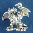 Standing Dragon with Wings Spread 3D Sterling Silver Charm Pendant