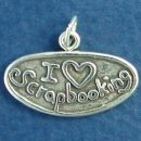 "Hobby "" I Love Scrapbooking"" Plaque Sterling Silver Charm Pendant"