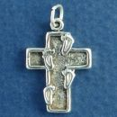 Religious Indented Cross with Foot Prints 3D Sterling Silver Charm Pendant
