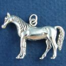 Equestrian Large Arabian Horse 3D Sterling Silver Charm Pendant