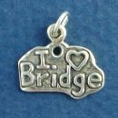 "Card Game ""I Love Bridge"" Plaque Sterling Silver Charm Pendant"