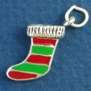 Christmas Stocking with Enamel Green and Red Stripes 3D Sterling Silver Charm Pendant