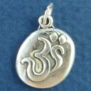 Religious Hindu Oval Om Symbol used in Yoga (Surrounded by Universe) Sterling Silver Charm Pendant