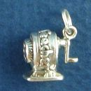 School Old Time Crank Pencil Sharpener 3D Sterling Silver Charm Pendant