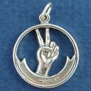 Peace Sign Hand Gesture in Circle Frame 3D Sterling Silver Charm Pendant