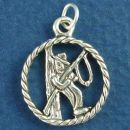 Fisherman Cut Out Disk with Rope Edges Sterling Silver Charm Pendant