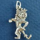 "Standing Lion with Crown ""King of Beasts"" 3D Sterling Silver Charm Pendant"