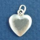 Puffed Solid Heart 3D Sterling Silver Charm Pendant
