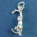 Swinging Monkey Holding Branch 3D Sterling Silver Charm Pendant