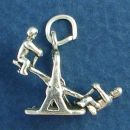 Children Playing on a Teeter Totter 3D Sterling Silver Charm Pendant
