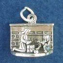 Family Christmas Opening Presents by the Fireplace 3D Sterling Silver Charm Pendant