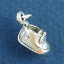Tied Baby Bootie with Embossed Duck Design 3D Shoe Sterling Silver Charm Pendant