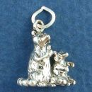 Pair of Begging Racoons 3D Sterling Silver Charm Pendant