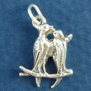 Kissing Love Birds Sitting on Branch 3D Sterling Silver Charm Pendant