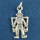 Dutch Boy Carrying Two Water Pails with Yoke Sterling Silver Charm Pendant