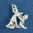 Boy Child with Best Friend Dog 3D Sterling Silver Charm Pendant