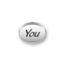 Inspiration Message Word Beads: You Sterling Silver Charm