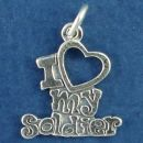 I Love Open Heart My Soldier Military Charm Sterling Silver Pendant