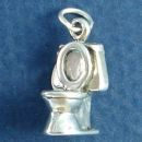 Toilet Bowl 3D Sterling Silver Charm Pendant