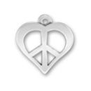 Heart Shaped Peace Sign Sterling Silver Charm Pendant