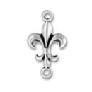 Fleur de Lis Medium Sterling Silver Charm Pendant with Double Loops can be used as Earrings or Bracelet Component