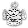 Angel Charm Sterling Silver Pendant with Word Peace