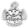 Angel Charm Sterling Silver Pendant with Word Hope