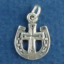 Horseshoe with Christian Cross Sterling Silver Charm Pendant