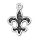Fleur de Lis with Dark Center Sterling Silver Charm Pendant