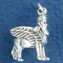 Griffin Mythological Beast with Lion's Body and Head and Wings of an Eagle 3D Sterling Silver Charm Pendant