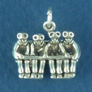Winter Snow Skiers on Ski Lift 3D Sterling Silver Charm Pendant