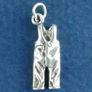 Winter Ski Bib Pants 3D Sterling Silver Charm Pendant