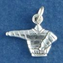 Winter Ski Sweater Clothing 3D Sterling Silver Charm Pendant