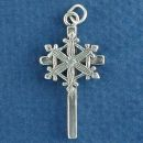 Christian Cross with Snowflake Design Sterling Silver Charm Pendant