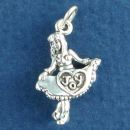Girl Dancing with Heart Design on Dress and Joy Word Phrase 3D Sterling Silver Charm Pendant