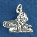 Lion with Lamb and Friends Word Phrase Sterling Silver Charm Pendant