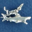 Scuba Diver Swimming with a Shark 3D Sterling Silver Charm Pendant