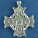 Christian Maltese Cross with Flower Accents Sterling Silver Charm Pendant