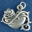 Heart with Rose and Vine Design Sterling Silver Charm Pendant