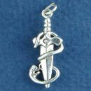 Dagger with Snake 3D Sterling Silver Charm Pendant
