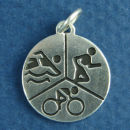 Triathlon Charm Disk in Sterling Silver