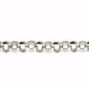 Rolo Chain Charm Link Antique Silver Tone Large Necklace 30 Inch Chain