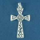 Filigree Sterling Silver Christian Cross Pendant with INRI