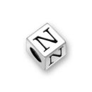 Sterling Silver Alphabet Beads N 7mm Letter Beads