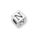 Sterling Silver Alphabet Beads N 5.5mm Letter Beads