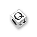 Sterling Silver Alphabet Beads Q 7mm Letter Beads