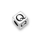 Sterling Silver Alphabet Beads Q 5.5mm Letter Beads