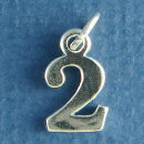 Number 2 Sterling Silver Charm Pendant