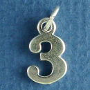 Number 3 Sterling Silver Charm Pendant