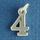 Number 4 Sterling Silver Charm Pendant